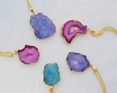 Druzy Geode Necklace, Solar Slice Blue Stone Pendant, Pink Quartz Slice Gold Necklace, Green druzy necklace