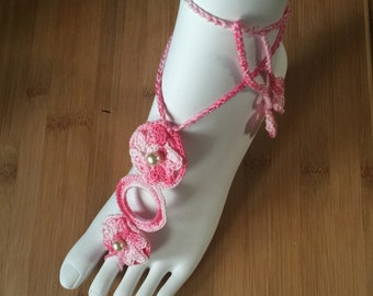 Handmade Barefoot Sandals - 2 Choices: Pink and/or Green