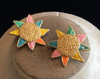 Vintage Chunky Mullti Colored Enameled Sun Clip On Earrings