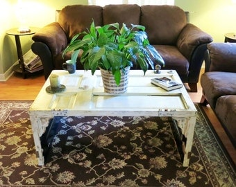 SOLD!!!!Reclaimed wood door coffee table