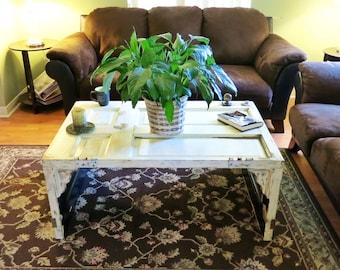 Reclaimed wood door coffee table