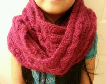 hand-knitted mohair cowl infinity scarf(claret)