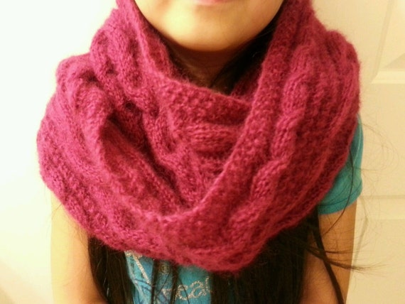 Infinity Scarf Knitting Pattern Mohair : hand-knitted mohair cowl infinity scarfclaret