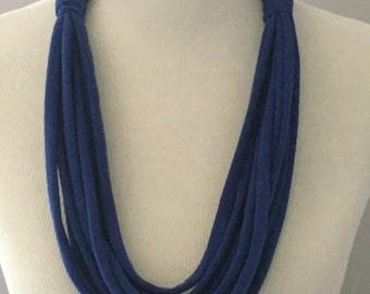 """Royal Blue T Shirt Necklace, Blue T Shirt Necklace, Upcycled T Shirt, Handmade T Shirt Necklace, Multi-Strand T Shirt Necklace, 31"""" Necklace"""