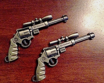 2 Large Bronze Gun Charms, Antique Bronze Charms, Revolver Charms, Rifle Charms, 3D Pistol Pendant, Jewelry and Craft Supplies, Findings