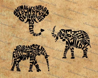 Digital SVG PNG elephant, raging elephant, trunk, word, typographic, typography poster, vector, silhouette, clipart, instant download