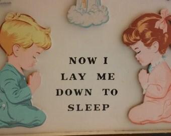 "VINTAGE 1950's Children's bedtime prayer ""Now I Lay Me Down To Sleep"""