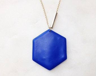 6-corner STATEMENT necklace - designer jewelry, polymer clay, polymer clay, link chains, gold, handcrafted, unique fashion, geometry, blue, maritime