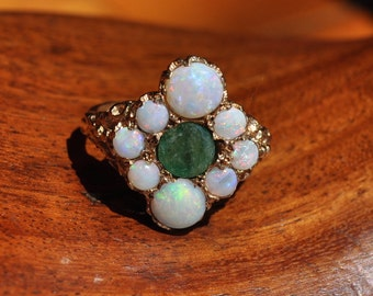 Art Deco ring 1920's style 1.00ct Emerald & 2.08ct Opal Valuation held 4.44gms Size M1/2 US 6.75 17mm x 17mm