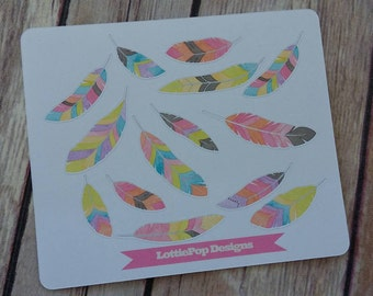 Watercolor Feathers Planner Stickers