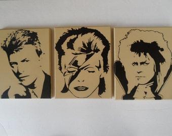 David Bowie Canvas Wall Hangings / Wall Art - Set of 3 - Ziggy Stardust, Jareth Labyrinth