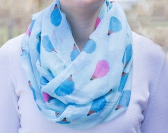 Hedgehog Scarf, Hedgehog Infinity Scarf, Blue and Pink Hedgehog Scarf