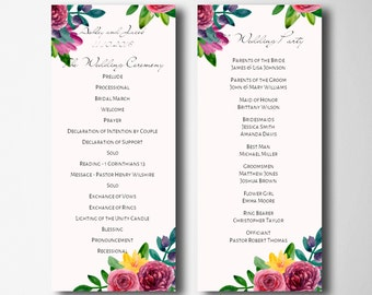 Floral wedding program printable Romantic wedding Garden ceremony program Botanical wedding Programs instant download Flowers program 1W56