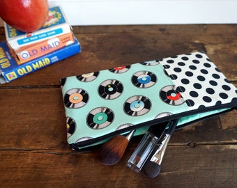 Make-up or Pencil Bag, Rectangle Zipper Bag, Aqua Records, 50's style fabric with black and white dots