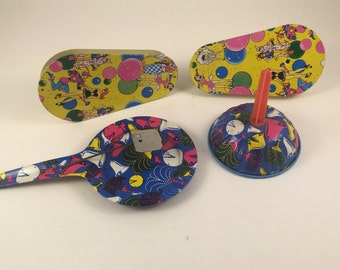 Vintage Party Noisemakers, Tin Toy Noise Makers, Party Noisemakers, 1950s, New Years Eve Noisemakers