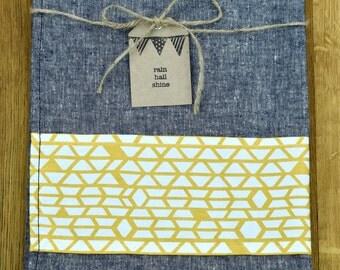 Stunning Hemp and Organic Cotton Linen-Look Tea Towel with Mustard Yellow Geometric Print