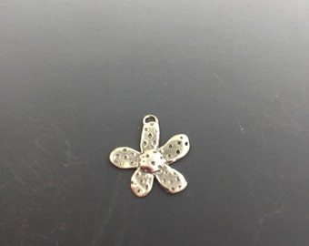 Flower Charm with dots, Sterling Silver