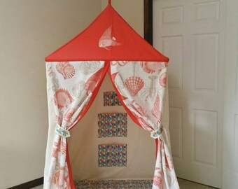 Christmas in July Sea Side Shanty, tropical cabana, beach inspired tent with sea shells and creatures