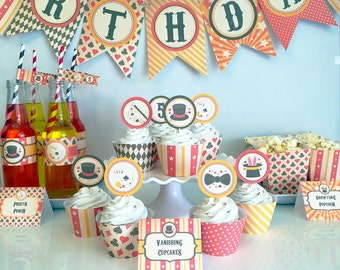 Vintage Magic Birthday Party Package - Magic Theme - Magician Party - Magic Birthday Printables - Edit and Print Yourself - Instant Download