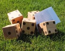 Yard Dice,Yahtzee yard dice,Backyard dice, Yardzee, set of 5 dice with reprintable score sheets
