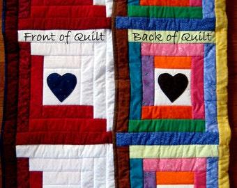 Red White Blue Quilt, July 4th Quilt, Patriotic Quilt, Heart Lap Quilt, Valentine Handmade Quilt, Veteran Quilt, Quilted Throw, Unique Quilt