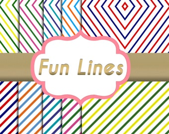 Fun Lines Paper Pack - Fashion Branding Style - 10 designs