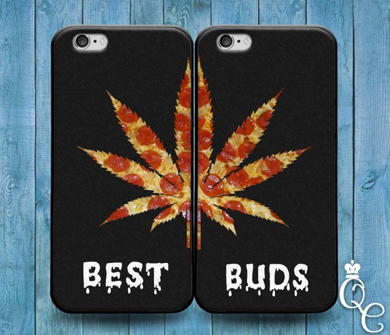 iPhone 4 4s 5 5s 5c SE 6 6s 7 plus iPod Touch 4th 5th 6th Generation Cute Best Friend Buds 420 Pizza Leaf Funny Black Phone Cover Bff Case