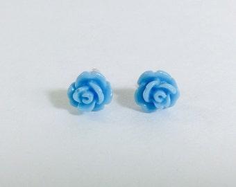 Small blue rose earrings