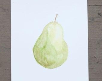 Pear Fruit Watercolor Print - 8 x 10 or 8.5 x 11