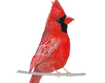 Bird Print, Cardinal Bird Printable | Bird Wall Printable, Bird Wall Art, Red Bird Art | Printable Cardinal Bird Decor, Bird Painting Print