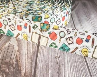 "School ribbon - 1"" Grosgrain ribbon - Apple ribbon - School books - Back to school - Teacher ribbon - Teacher appreciation - DIY school bow"