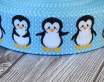 Penguin ribbon - Blue polka dot 1 inch - 3 or 5 yard lot - No slip headband DIY - Pretty ribbon - Ribbon by the yard - Crafting supplies
