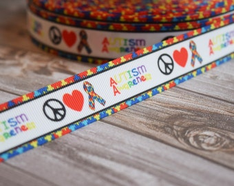 "Peace, Love, Autism 7/8"" grosgrain ribbon 3 or 5 yards"