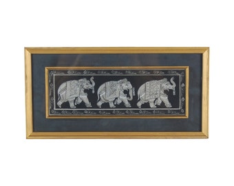 Vintage Gouache Painting of 3 Ceremonially Dressed Indian Elephants