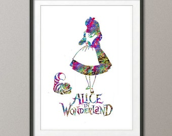 Alice in Wonderland Watercolor Print Nursery Children's Wall Art Wall Decor Art Home Decor Wall Hanging
