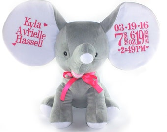 Baby Shower Gift - Personalized Stuffed Animal - Baby Keepsake -Dumble elephant - Cubbie - Personalized Elephant - Baby gift - Unique Gift