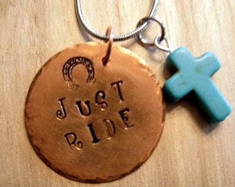 Just Ride Copper and Turquoise Hand Stamped Necklace |Horse Jewelry|Rustic|EquestrianJewelry