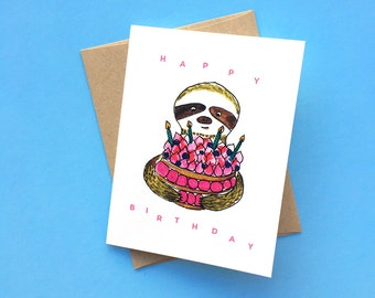 Birthday Sloth, Watercolor Typographic Birthday Card