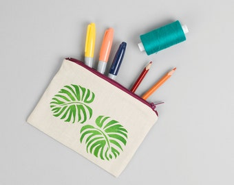 Hand printed Pencil Case/ Make Up/ Cosmetic Leaf Bag