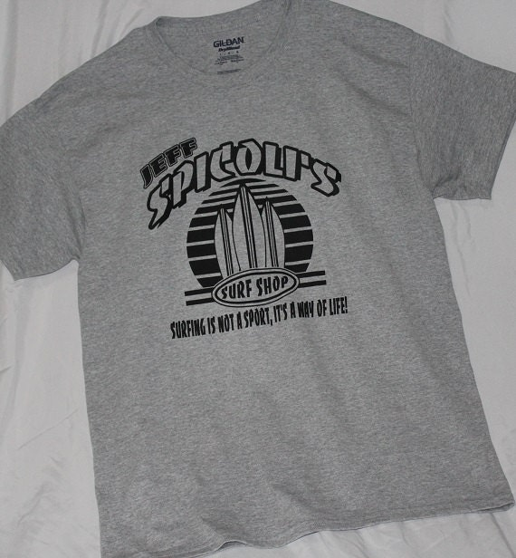 Spicoli 39 s surf shop t shirt by atlanticshoretees on etsy for Surf shop tee shirts