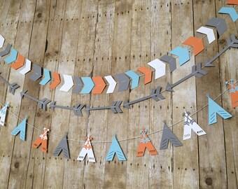 Set of 3 Tribal Garlands! -- Tribal Party Decorations -Tribal Baby Shower- POW WOW - Wild One - Aztec Party-- Nursery Decor- Tribal