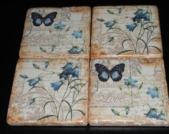 Stone Tile Coasters set of 4 Decoupage Stone Tiles