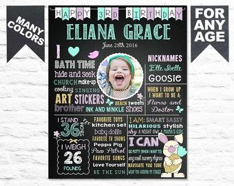Rabbit Birthday Chalkboard Sign - Printable 3rd Birthday Easter Bunny Chalk board Poster - Birthday Board for a Girl  Banner Milestone (263