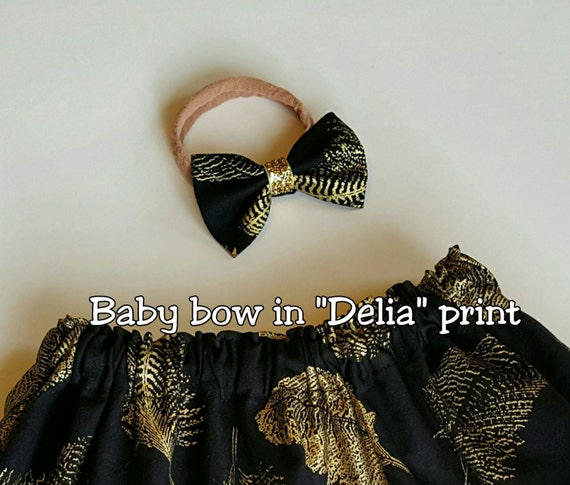 Baby bow in Delia print black and gold feather fancy girls baby newborn