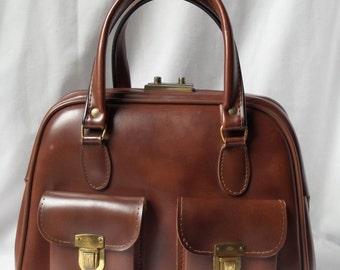 Brown faux leather vintage purse / Briefcase / satchel