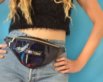 Holographic Black Bumbag / Fannypack  with Chain Strap 'The Keira'