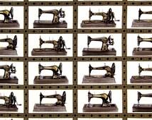 Black Singer Sewing Machine Fabric Blocks w/Metallic by Robert Kaufman AGZM156392