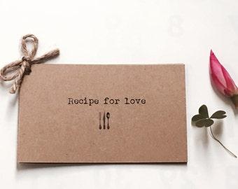Wedding favor - rustic wedding favor - Recipe for love - rustic recipe - vintage wedding favor - Rustic wedding - index card wedding - boho