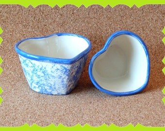 House Warming-Gift-New Home-Ceramic-Heart-Nesting-Bowls-Country-Spongeware-Accent-Decor-Birthday-Mothers Day-Valentine's Day