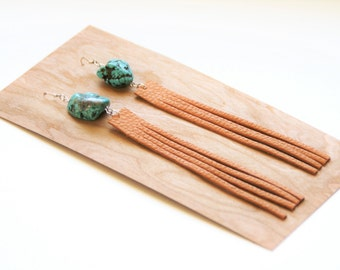 Turquoise & Leather Fringe Earrings